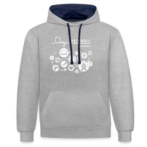 DigiPippi DK white - Kontrast-hættetrøje