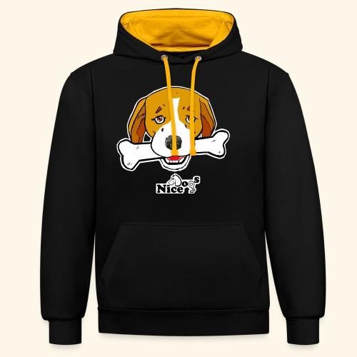 Nice Dogs Semolino - Felpa con cappuccio bicromatica