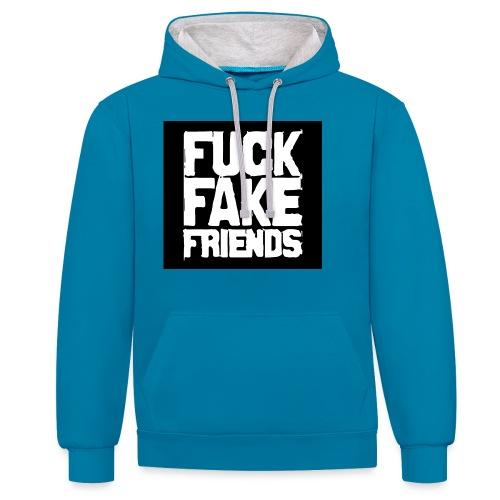 FUCK - Bluza z kapturem z kontrastowymi elementami