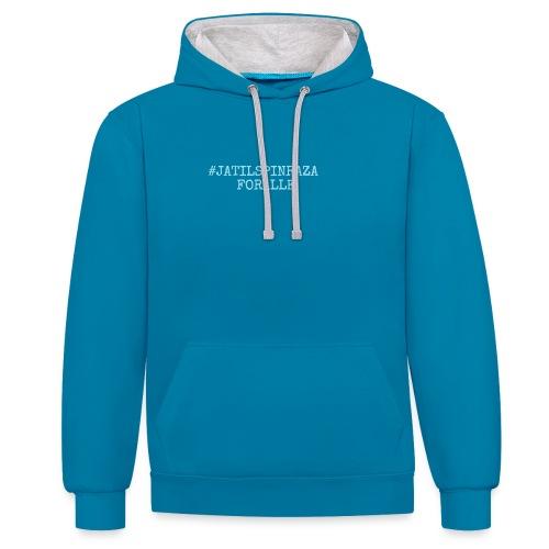#jatilspinrazaforalle - lysblå - Kontrast-hettegenser