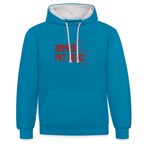 Gamer with heart - Contrast Colour Hoodie