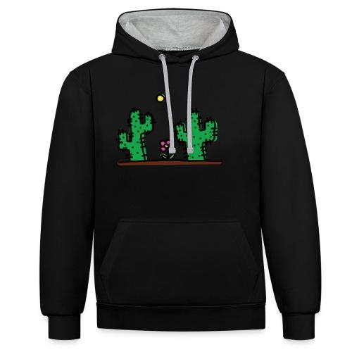 Cactus - Felpa con cappuccio bicromatica