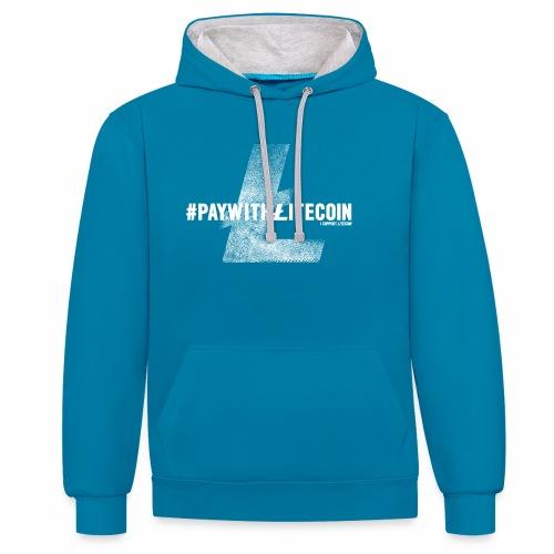 #paywithlitecoin - Felpa con cappuccio bicromatica