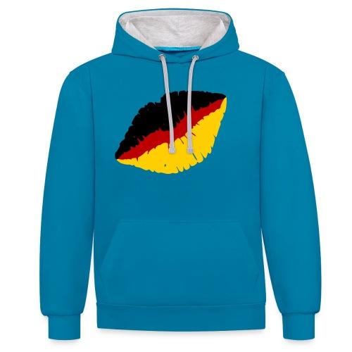 Deutschland Lippen Motiv - Kontrast-Hoodie