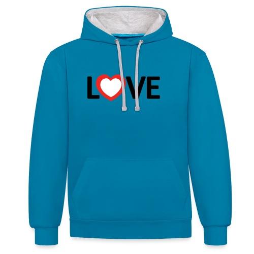 Love - Sudadera con capucha en contraste