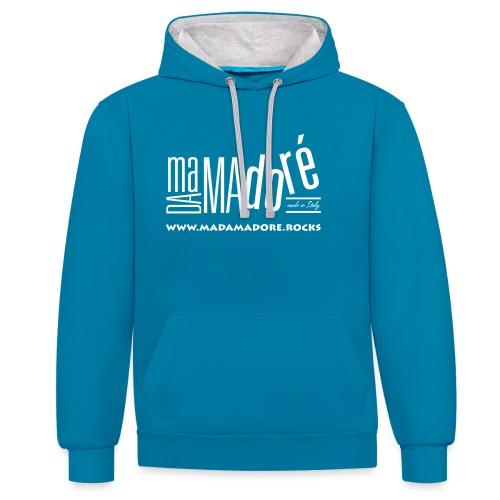 T-Shirt Premium - Donna - Logo Bianco + Sito - Felpa con cappuccio bicromatica