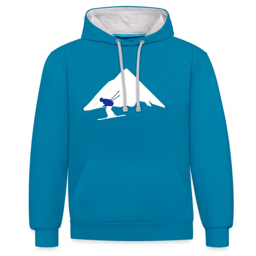 Cool ski mountain race design - Contrast hoodie