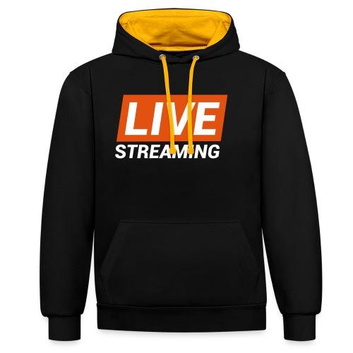 LIVE streaming - Felpa con cappuccio bicromatica