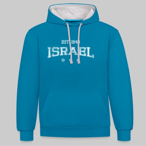 ISRAEL-white - Contrast Colour Hoodie
