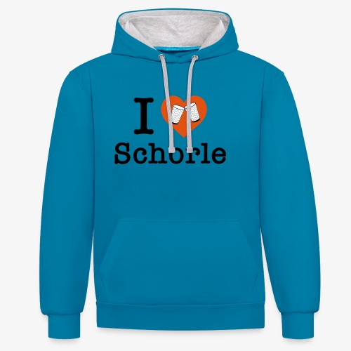 I love Schorle – Dubbeglas - Kontrast-Hoodie