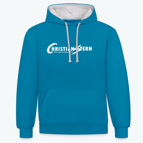 Christian Stern Logo Weiß - Kontrast-Hoodie