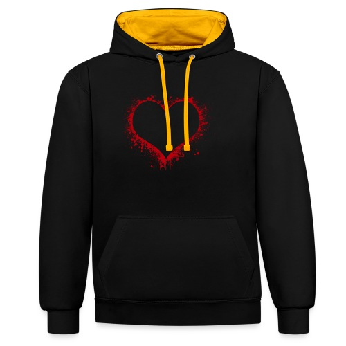 Herz/Heart - Kontrast-Hoodie
