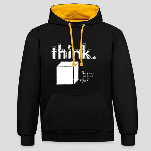 Think Outside The Box Illustration - Contrast Colour Hoodie