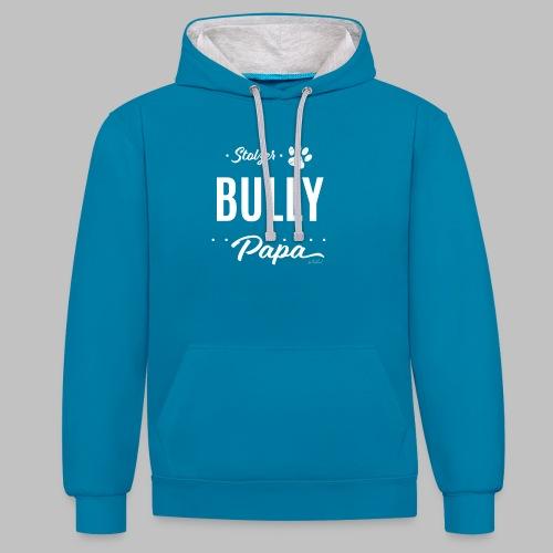 Stolzer Bully Papa - Pfote - Kontrast-Hoodie