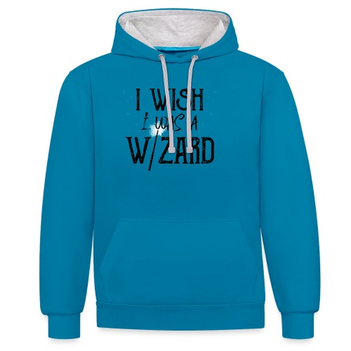 I Wish I Was A Wizard - Black - Contrast Colour Hoodie