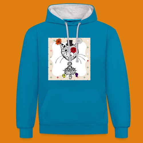 cat color - Contrast Colour Hoodie