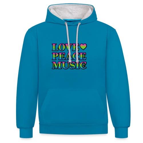 Love Peace Music - Contrast Colour Hoodie