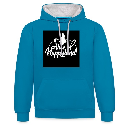 Alice in Nappyland TypographyWhite 1080 - Contrast Colour Hoodie