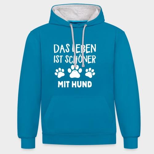 Das Leben ist schöner Mit Hund Geschenk Hundliebe - Kontrast-Hoodie