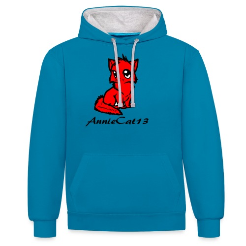 annie cat logo for with writing png - Contrast Colour Hoodie