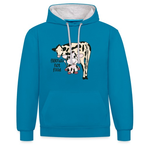Friends not food - Contrast Colour Hoodie
