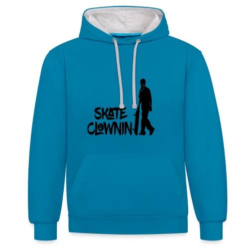Skateclowninallblackno bg gif - Contrast Colour Hoodie