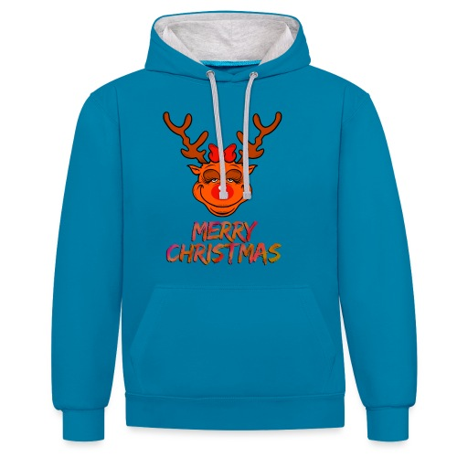Rudolph weiblich - Kontrast-Hoodie