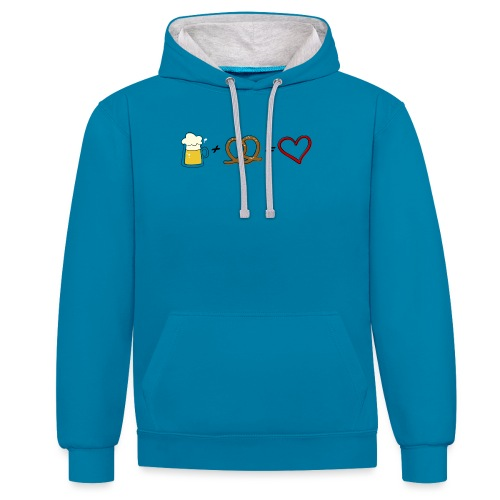 pretzel + beer = love - Contrast Colour Hoodie