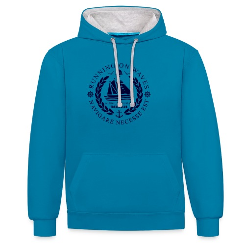 RUNNING ON WAVES - Contrast Colour Hoodie