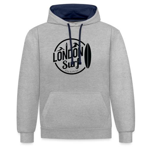 London Surf - Black - Contrast Colour Hoodie