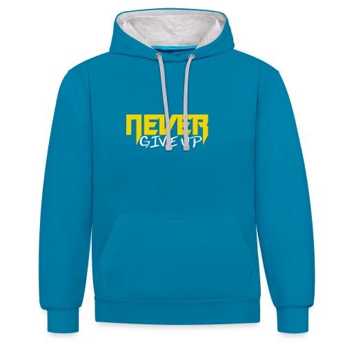 Never give up - Kontrast-Hoodie