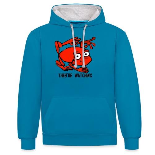 red frog - Felpa con cappuccio bicromatica