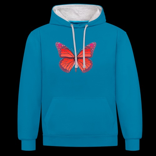 D28 monarch butterfly red lajarindream 4500px - Sudadera con capucha en contraste