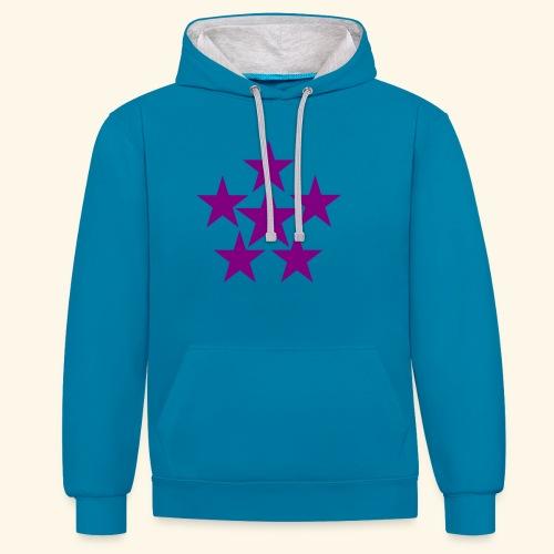 5 STAR lilla - Kontrast-Hoodie