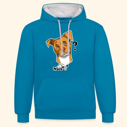 Nice Dogs pitbull 2 - Felpa con cappuccio bicromatica