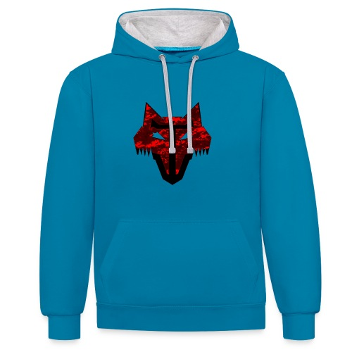 redcamowolf png - Contrast Colour Hoodie