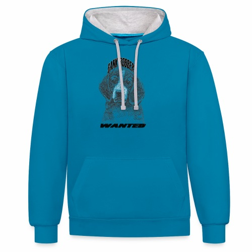 funny bank robbery wanted dog - Contrast Colour Hoodie