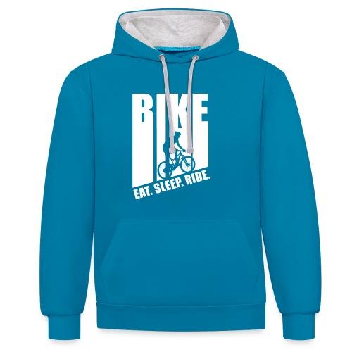 eat sleep ride MTB Downhill Evolution fun bike lit - Kontrast-Hoodie