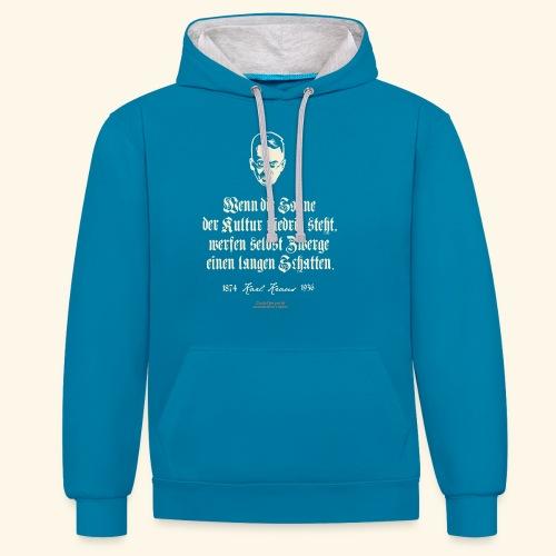T-Shirt Zitat Karl Kraus über Kultur - Kontrast-Hoodie