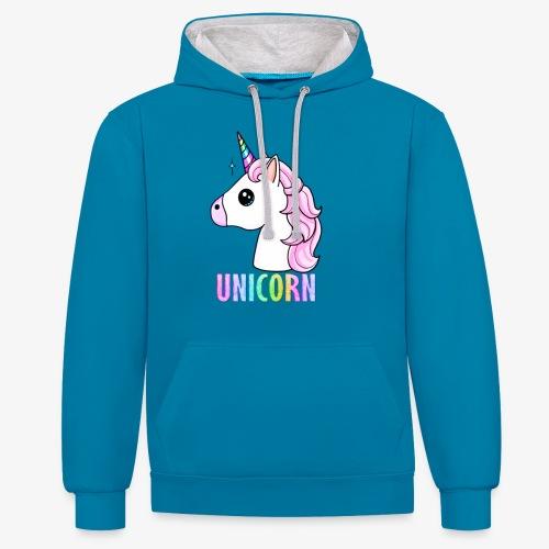Unicorn - Felpa con cappuccio bicromatica