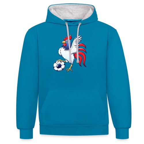 Rooster Posing and Stepping on a Foot Ball - Contrast Colour Hoodie