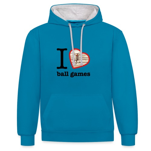 I love ball games Dog playing ball retrieving ball - Contrast Colour Hoodie