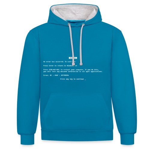Blue screen of death - Contrast Colour Hoodie