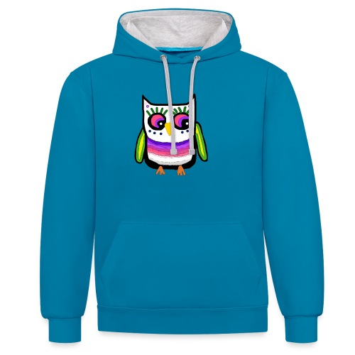Colorful owl - Contrast Colour Hoodie