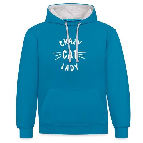 Vorschau: Crazy Cat Lady meow - Kontrast-Hoodie