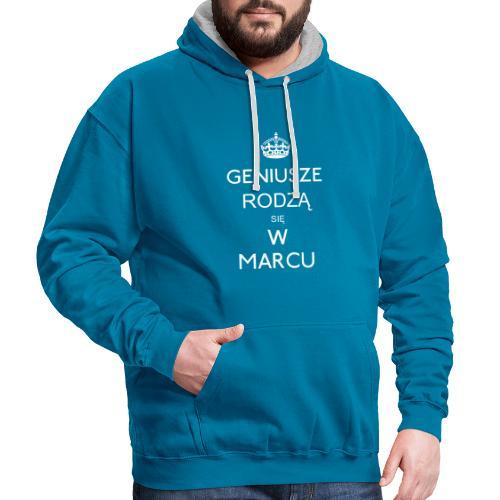 GENIUSZE RODZĄ SIĘ W MARCU - Bluza z kapturem z kontrastowymi elementami