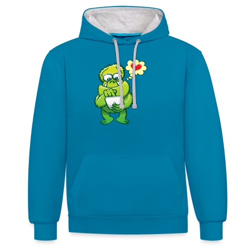 Ugly monster seeking love on the Internet - Contrast Colour Hoodie
