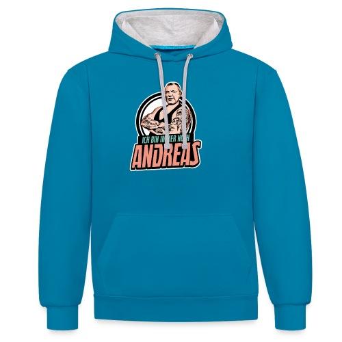 Immer-Noch-Andreas-Logo BUNT - Sudadera con capucha en contraste