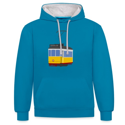 Tram car yellow - Contrast Colour Hoodie