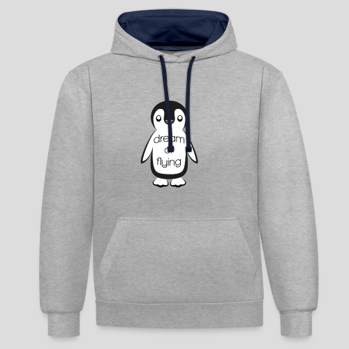 Dream of Flying Pinguin - Contrast Colour Hoodie